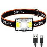 OMERIL Linterna Frontal LED USB Recargable, Linterna Cabeza Super brillante, 5...
