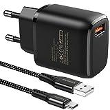 JOOMFEEN Quick Charge 3.0 Cargador USB Tipo C de Pared con Cable USB C 2M,18W QC...
