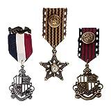 Sharplace 3 Piezas Broche de Forma Medalla Insignia Estilo Vintage Retro Diseño...