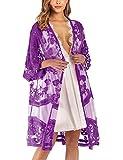 iWoo Kimono sexy para mujer, de encaje, con flores, crochet, parte delantera,...