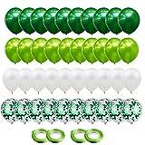 Gxhong Globos de confeti Globos de Látex Verde Blanco, 60pcs globos de helio de...