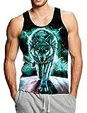 Goodstoworld 3D Lobo Tank Top Hombre Camiseta Sin Mangas Playa Sport Tops sin...