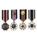 IPOTCH 4 Unids Hombres Vintage Insignia Broche Uniforme Militar Rayado Tela...