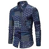 Camisa de Manga Larga con Estampado Retro para Hombre, cómoda, clásica, de...