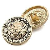 Botón con vástago de metal de alta calidad con cabeza de león en relieve para...