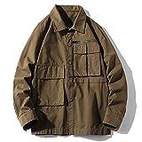 Camisa de Carga para Hombre, Moda, Color sólido, Costuras, Multibolsillos,...