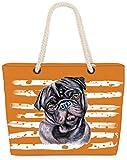 VOID Bolso de Playa XXL Bolsa Shopper Pug 58 x 38 x 16cm 23l Beach Bag,...