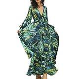Vestido Mujer Largo Estampado Palmas Verde Vestido Maxi Verano Playa Vestido...