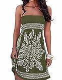 Vestido de verano para mujer, sin hombros, estampado floral, multicolor, estilo...