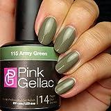Esmalte de uñas de gel Pink Gellac, color verde militar, 15 ml