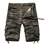 DAIHAN Hombre Bermudas Pantalones Cortos A Cuadros de Playa Casual Shorts...