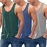 COOFANDY - Pack de 3 Camisetas sin Mangas para Hombre, de algodón, sin Mangas,...