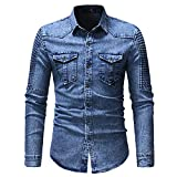 Camisa de Mezclilla con Mangas dobladas y Costuras para Hombre, diseño de...