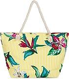 styleBREAKER Bolso para la Playa XXL de Mujer con Estampado de Rayas y Flores y...