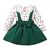 puseky Conjunto de camisa floral de manga larga y falda con tirantes para niñas...
