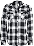 Brandit Amy Flanell Shirt Girls Camisa, White-Black, L para Mujer