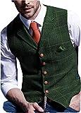 Solove-Suit Chaleco de traje informal para hombre, de tweed Slim Fit, verde, XXL