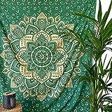 MOMOMUS Tapiz Mandala Oro - 100% Algodón, Grande, Multiuso - Pareo/Toalla de...