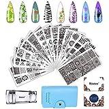 Biutee Estampacion Uñas 15 Placas de Stamping + 1 Sello de Silicona +2 Rascador...