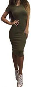 vestido verde militar ajustado y largo