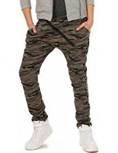 pantalón niño verde militar y camuflaje