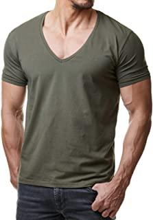 Camisetas verde oliva cuello en V hombre