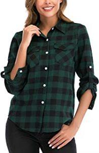 camisas verde militar mujer