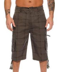 pantalon corto hombre cuadros verdes