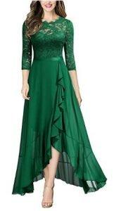 vestido verde con gasas y encajes Vestidos verde mujer
