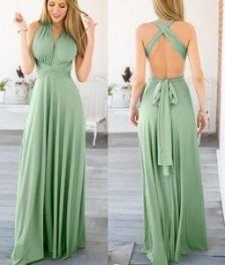 dama elegante con vestidos verde mujer