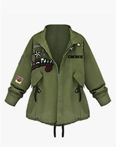 Chaqueta verde militar con bordados Chaquetas Militares Ofertas