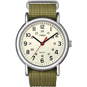 Timex Reloj análogico verde militar para mujer