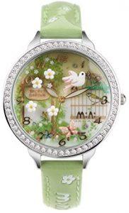 reloj primaveral para mujer y niña en color verde con un pájaro