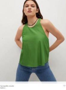 camisa verde militar de mango