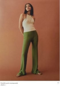 pantalón verde militar mango