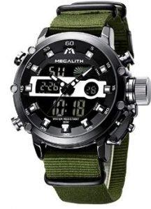 Relojes deportivos con la correa verde militar y esfera negra para hombres militares