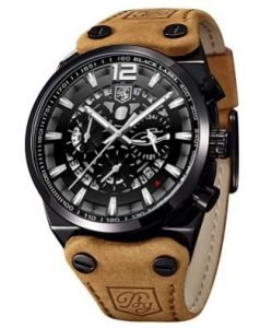 reloj de pulsera con correa marrón hombre