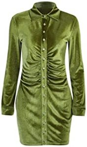 vestido verde militar camisero