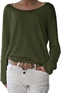 camiseta manga larga verde militar mujer