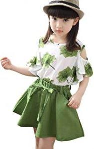faldas para niñas en verde y blanco