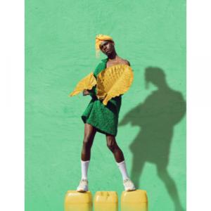 falda verde botella con amarillo