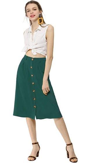 falda verde con botones mujer