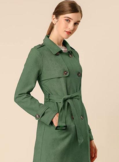 chaqueta verde militar mujer con cinturón