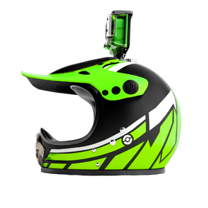 Casco de moto verde motocross